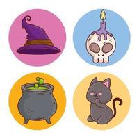 icônes d'halloween mis en décoration sur des cadres ronds