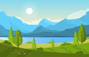 lac d'été avec illustration de paysage de champ vert