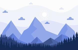 illustration de scène nature forêt montagne calme vecteur