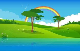 lac d'été avec illustration de paysage de champ vert vecteur