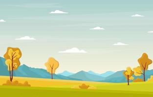 scène de parc dautomne avec arbres et montagnes