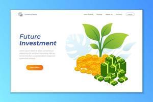 modèle de fond de bannière web investissement. pile de pièces et illustration de billets de banque vecteur