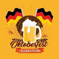 Bannière de célébration oktoberfest avec des drapeaux de bière et d'allemagne vecteur