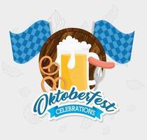 Bannière de célébration oktoberfest avec bière, bretzel et saucisse vecteur