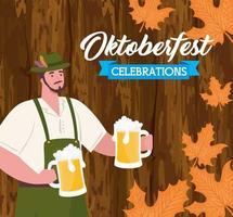 Bannière de célébration oktoberfest avec homme avec des bières dans un fond en bois vecteur