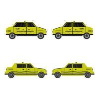 ensemble de taxis sur fond blanc vecteur