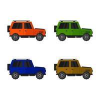 ensemble de jeeps sur fond blanc vecteur