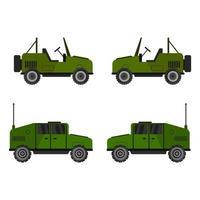 ensemble de jeeps militaires sur fond blanc vecteur