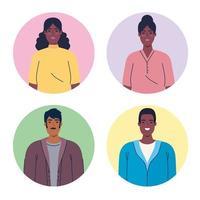 icônes avatar multiethnique vecteur