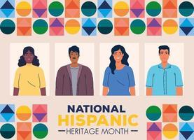 bannière du mois national du patrimoine hispanique avec un groupe multiethnique de personnes vecteur