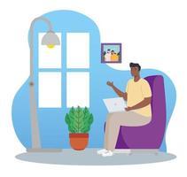 homme afro avec ordinateur portable travaillant à domicile vecteur