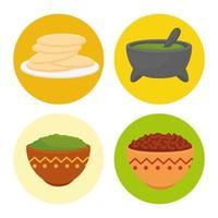 jeu d'icônes de cuisine mexicaine vecteur