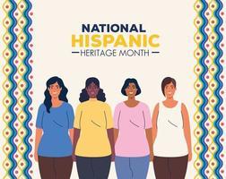 mois national du patrimoine hispanique et groupe multiethnique de femmes ensemble vecteur