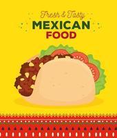 affiche de cuisine mexicaine avec taco frais et savoureux vecteur