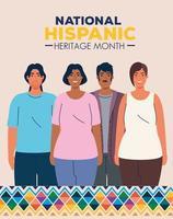 mois national du patrimoine hispanique avec un groupe multiethnique de personnes vecteur