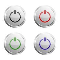 ensemble de boutons d'alimentation sur fond blanc vecteur
