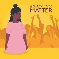 les vies noires comptent bannière avec jeune femme, arrêter le concept de racisme vecteur