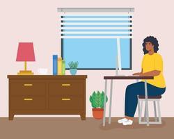 télétravail, femme afro travaillant à domicile vecteur
