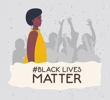 les vies noires comptent bannière avec femme, arrêter le concept de racisme vecteur