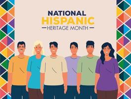 mois national du patrimoine hispanique avec un groupe de personnes multiethniques vecteur
