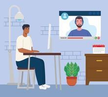 télétravail, homme afro travaillant à domicile dans une vidéoconférence avec un collègue vecteur