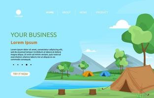 page de destination avec des tentes de camping au bord d'une rivière vecteur