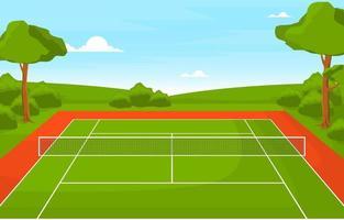 court de tennis extérieur entouré d'arbres vecteur