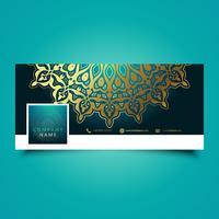 Couverture de la chronologie des médias sociaux sur le mandala décoratif vecteur