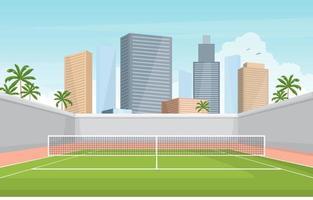 court de tennis extérieur avec toits de la ville vecteur