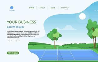 page de destination avec court de tennis et arbres vecteur