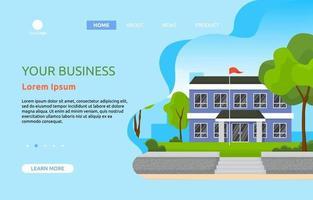 page de destination avec grand bâtiment scolaire avec arbres et ciel vecteur