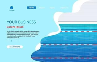 page de destination avec piscine avec ruelles vecteur