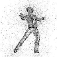Figure masculine faite avec des points vecteur
