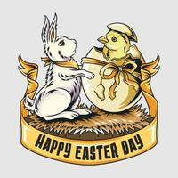 lapin de Pâques et poussins mignons sortent de l & # 39; oeuf vecteur
