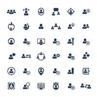 ressources humaines, ressources humaines, personnel, gestion, clients et clients icons set.eps vecteur