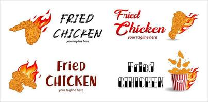 viande de poulet frit. éléments de conception de menu de restauration rapide. vecteur