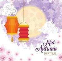 festival chinois de la mi-automne avec des lanternes suspendues et des fleurs vecteur