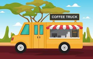camion de nourriture de café sur la rue