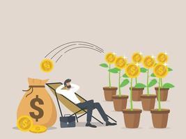 concept passif de revenu, de salaire et de bénéfices, un homme se détend en attendant que l'argent entre dans son sac en dollars. vecteur