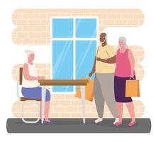 mignonnes vieilles personnes interraciales faisant des activités à l'intérieur vecteur