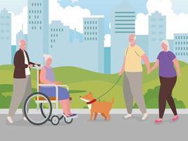 personnes âgées faisant des activités à l'extérieur vecteur