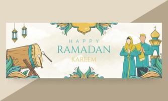 bannière de ramadan kareem heureux dessiné à la main vecteur