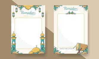 affiche de ramadan kareem avec ornement islamique dessiné à la main vecteur