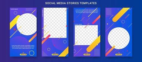 ensemble de modèles d'histoires de médias sociaux de vente d'été vecteur