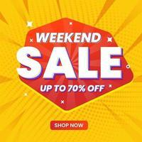 promotion de modèle de bannière de vente week-end vecteur