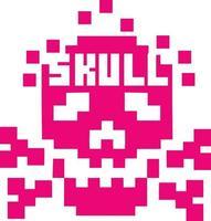 crâne de pixel-design vintage t-shirts vecteur