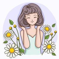femme aux cheveux courts avec le parfum des fleurs de camomille vecteur