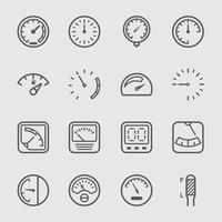 jeu d'icônes de ligne de jauge et de compteur vecteur