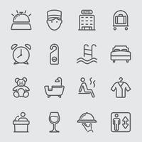 jeu d'icônes de ligne hôtel