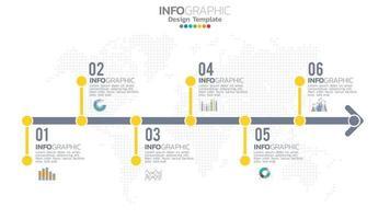infographie élément de couleur jaune en 6 étapes avec diagramme graphique de cercle, conception de graphique d'entreprise.